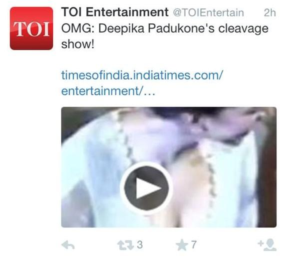 Times of India's controversial tweet about Deepika Padukone