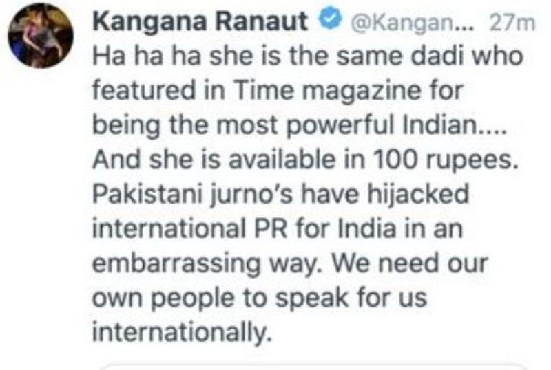 Kangana Ranaut's tweet about Bilkis Bano taking part in farmers' protest in Delhi